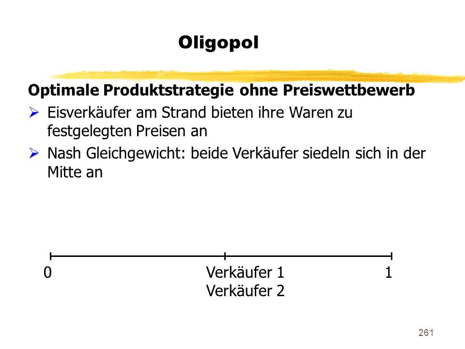 261 Oligopol Optimale Produktstrategie ohne Preiswettbewerb Eisverkäufer am Strand bieten ihre Waren zu festgelegten Preisen an Nash Gleichgewicht: be