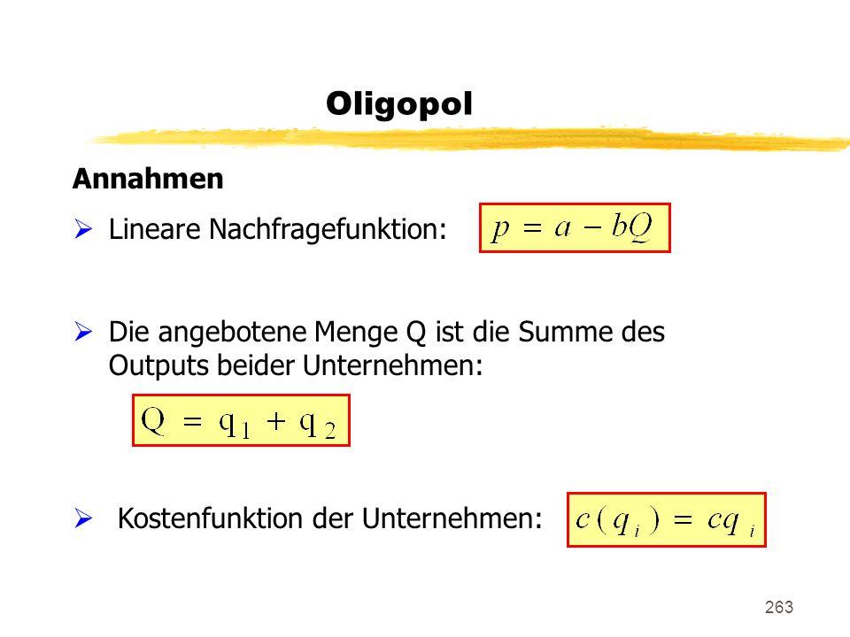263 Oligopol Annahmen Lineare Nachfragefunktion: Die angebotene Menge Q ist die Summe des Outputs beider Unternehmen: Kostenfunktion der Unternehmen: