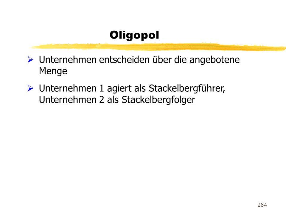 264 Oligopol Unternehmen entscheiden über die angebotene Menge Unternehmen 1 agiert als Stackelbergführer, Unternehmen 2 als Stackelbergfolger