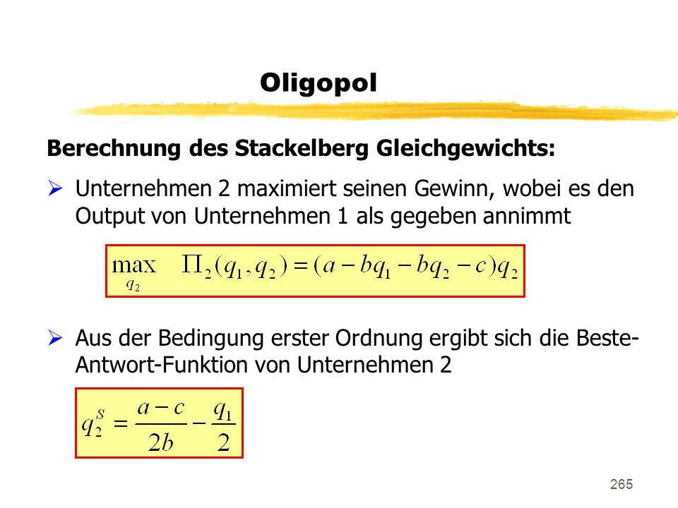 265 Oligopol Berechnung des Stackelberg Gleichgewichts: Unternehmen 2 maximiert seinen Gewinn, wobei es den Output von Unternehmen 1 als gegeben annim