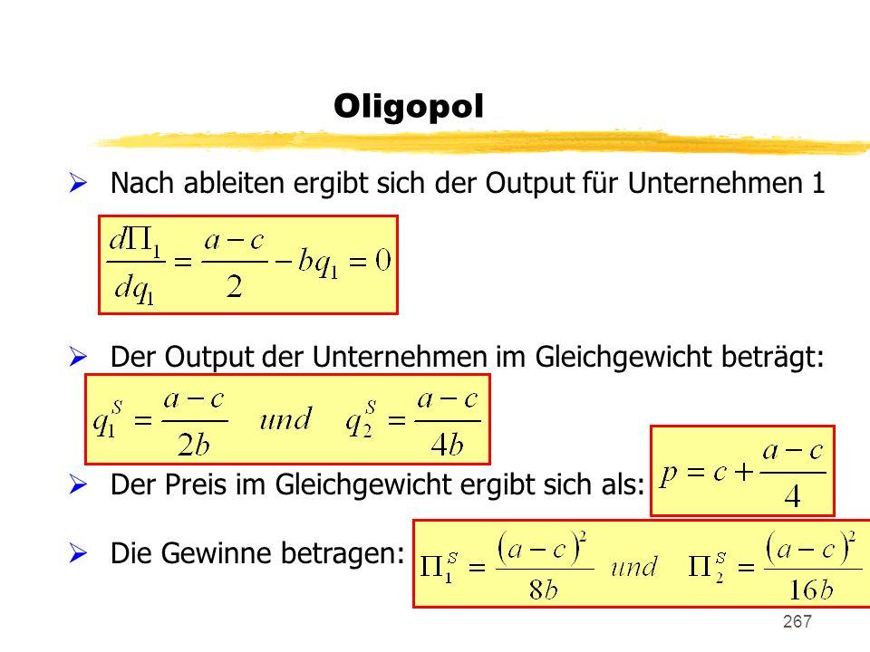 267 Nach ableiten ergibt sich der Output für Unternehmen 1 Der Output der Unternehmen im Gleichgewicht beträgt: Der Preis im Gleichgewicht ergibt sich