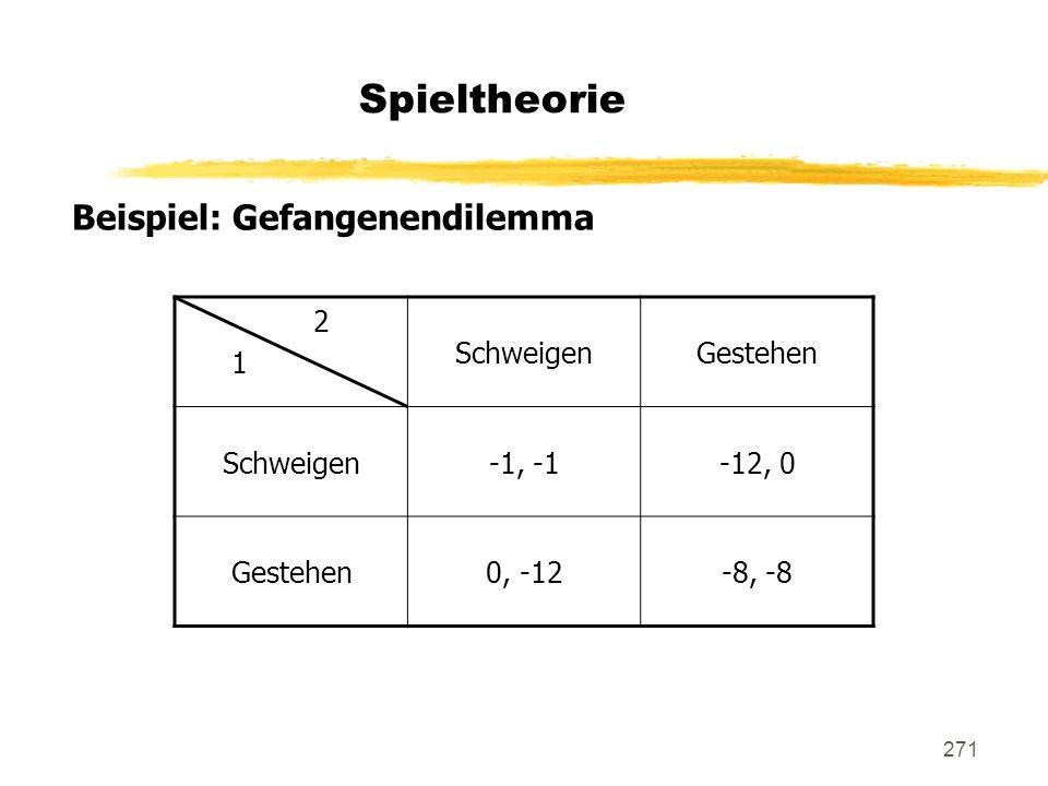 271 Spieltheorie Beispiel: Gefangenendilemma 2 1 SchweigenGestehen Schweigen-1, -1-12, 0 Gestehen0, -12-8, -8
