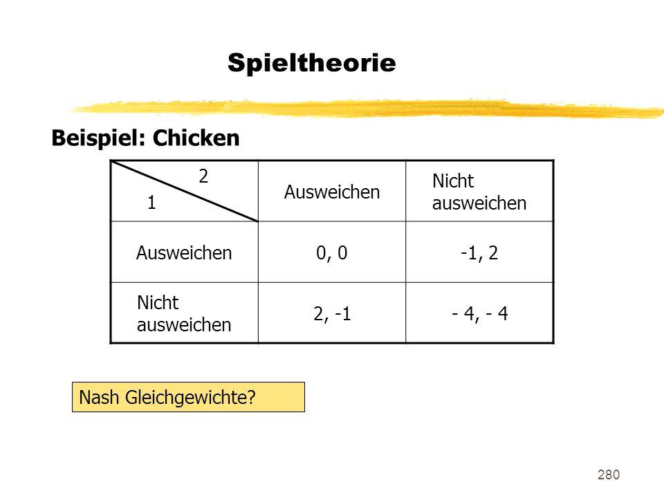 280 Spieltheorie Beispiel: Chicken 2 1 Ausweichen Nicht ausweichen Ausweichen0, 0-1, 2 Nicht ausweichen 2, -1- 4, - 4 Nash Gleichgewichte?