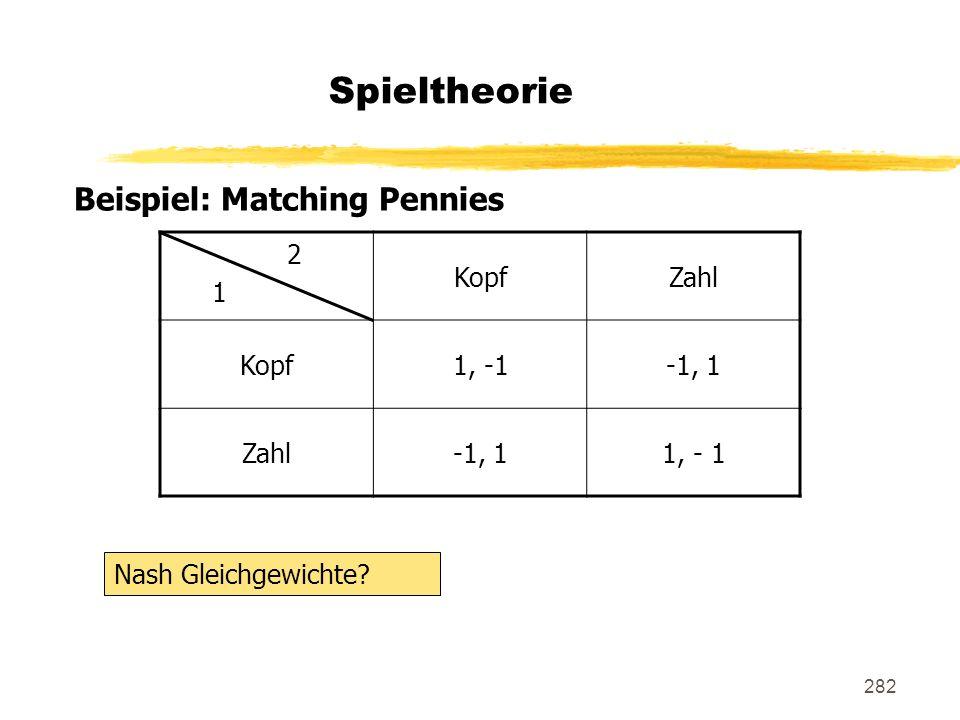 282 Spieltheorie Beispiel: Matching Pennies 2 1 KopfZahl Kopf1, -1-1, 1 Zahl-1, 11, - 1 Nash Gleichgewichte?