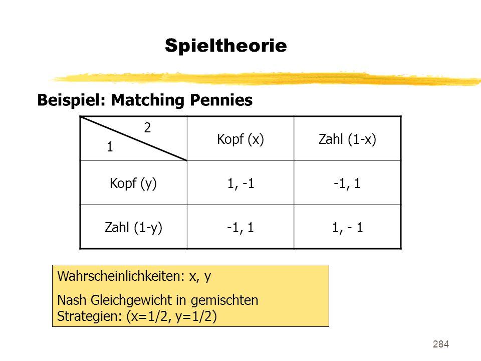 284 Spieltheorie Beispiel: Matching Pennies 2 1 Kopf (x)Zahl (1-x) Kopf (y)1, -1-1, 1 Zahl (1-y)-1, 11, - 1 Wahrscheinlichkeiten: x, y Nash Gleichgewi