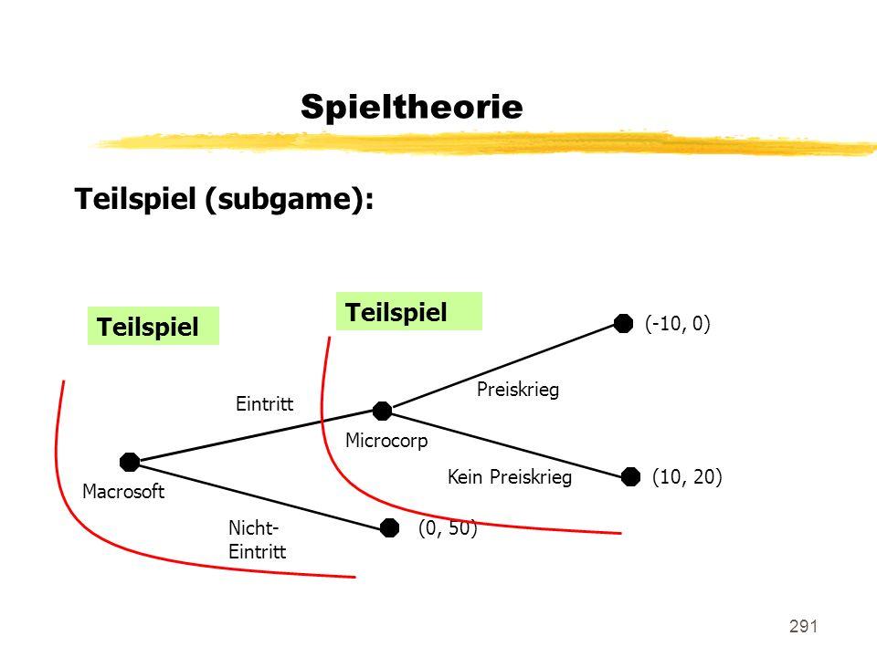 291 Teilspiel (subgame): Spieltheorie Macrosoft Eintritt Nicht- Eintritt (0, 50) Microcorp Preiskrieg Kein Preiskrieg (-10, 0) (10, 20) Teilspiel