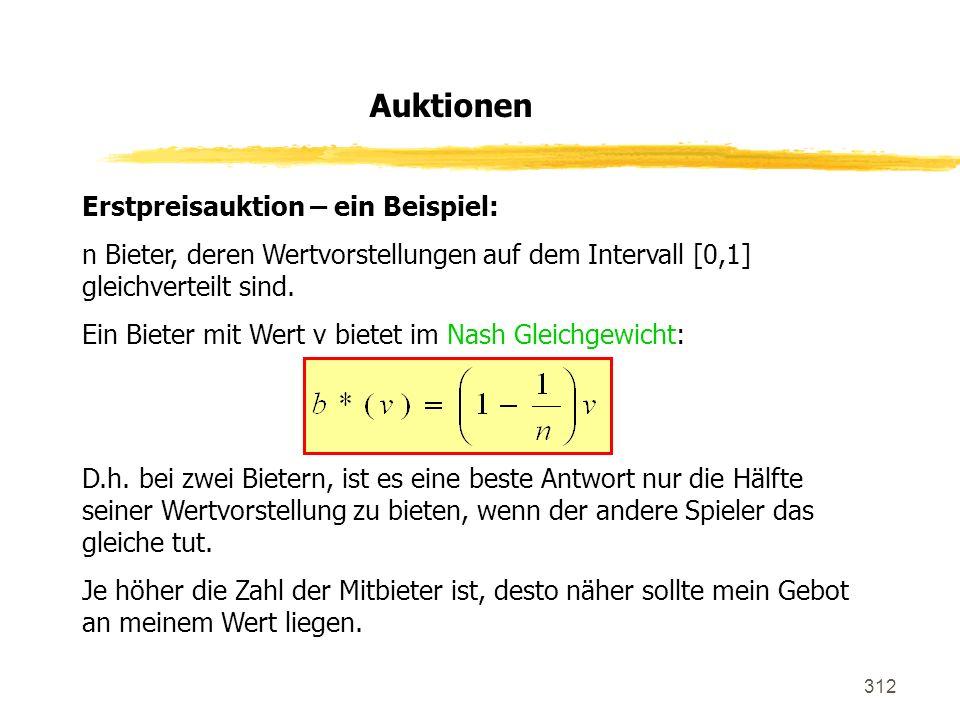 312 Erstpreisauktion – ein Beispiel: n Bieter, deren Wertvorstellungen auf dem Intervall [0,1] gleichverteilt sind. Ein Bieter mit Wert v bietet im Na