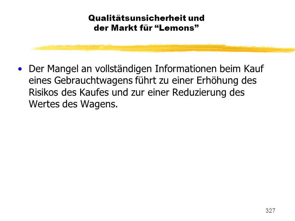 327 Qualitätsunsicherheit und der Markt für Lemons Der Mangel an vollständigen Informationen beim Kauf eines Gebrauchtwagens führt zu einer Erhöhung d