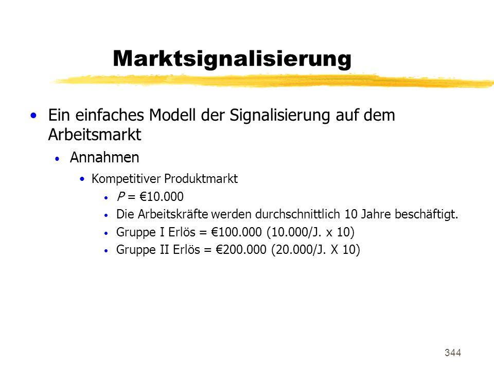 344 Marktsignalisierung Ein einfaches Modell der Signalisierung auf dem Arbeitsmarkt Annahmen Kompetitiver Produktmarkt P = 10.000 Die Arbeitskräfte w