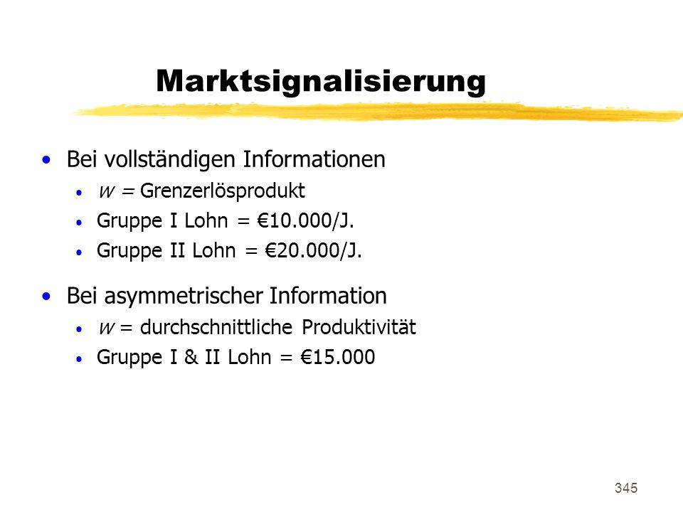 345 Marktsignalisierung Bei vollständigen Informationen w = Grenzerlösprodukt Gruppe I Lohn = 10.000/J. Gruppe II Lohn = 20.000/J. Bei asymmetrischer