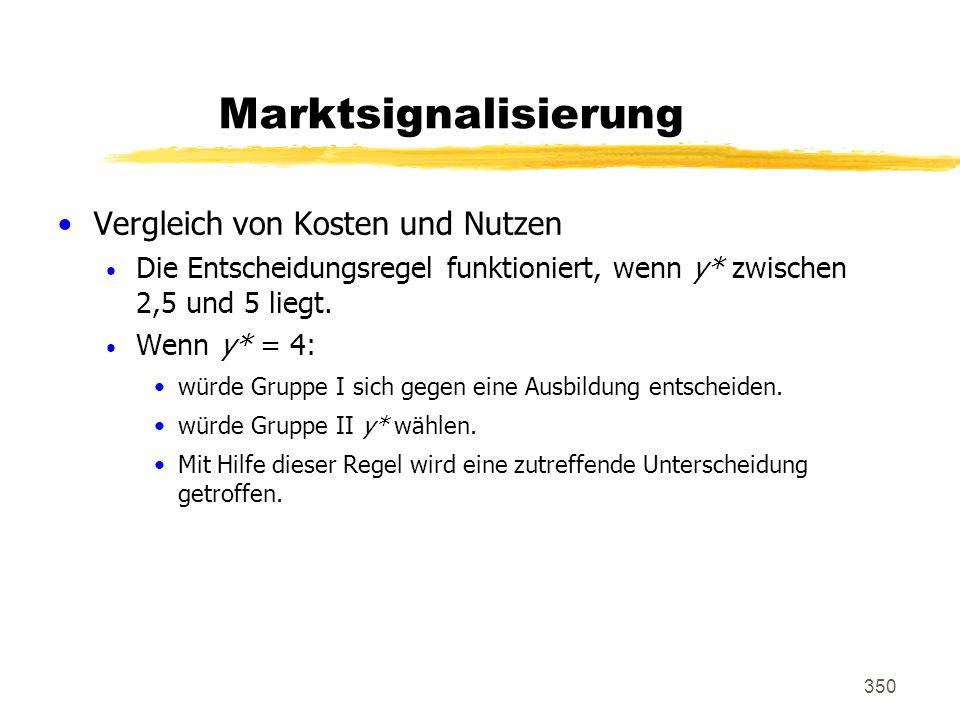 350 Marktsignalisierung Vergleich von Kosten und Nutzen Die Entscheidungsregel funktioniert, wenn y* zwischen 2,5 und 5 liegt. Wenn y* = 4: würde Grup
