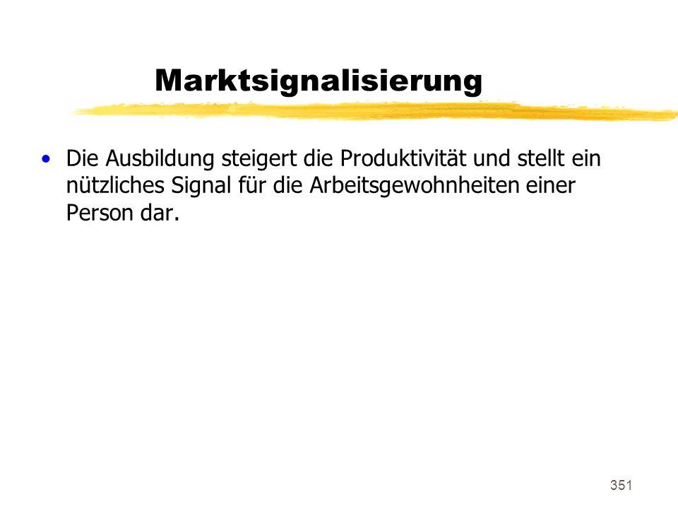 351 Marktsignalisierung Die Ausbildung steigert die Produktivität und stellt ein nützliches Signal für die Arbeitsgewohnheiten einer Person dar.