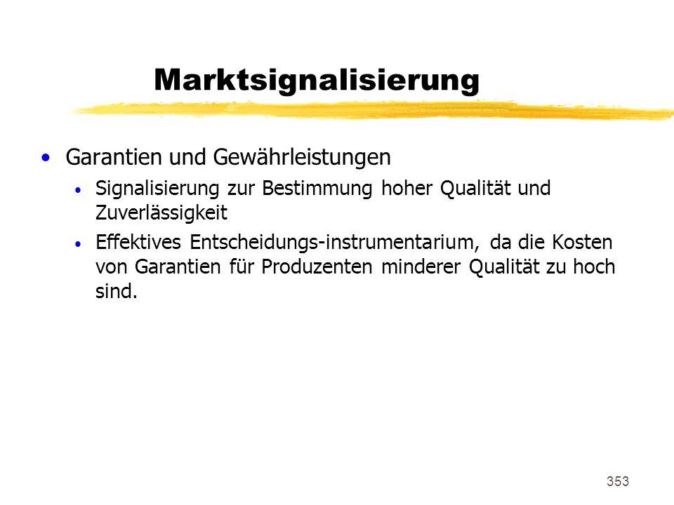 353 Marktsignalisierung Garantien und Gewährleistungen Signalisierung zur Bestimmung hoher Qualität und Zuverlässigkeit Effektives Entscheidungs-instr
