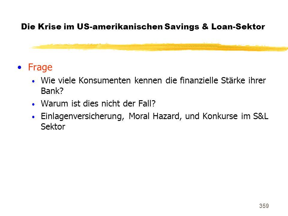 359 Die Krise im US-amerikanischen Savings & Loan-Sektor Frage Wie viele Konsumenten kennen die finanzielle Stärke ihrer Bank? Warum ist dies nicht de