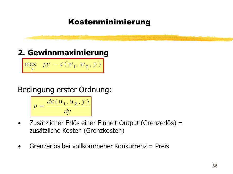 36 2. Gewinnmaximierung Bedingung erster Ordnung: Zusätzlicher Erlös einer Einheit Output (Grenzerlös) = zusätzliche Kosten (Grenzkosten) Grenzerlös b