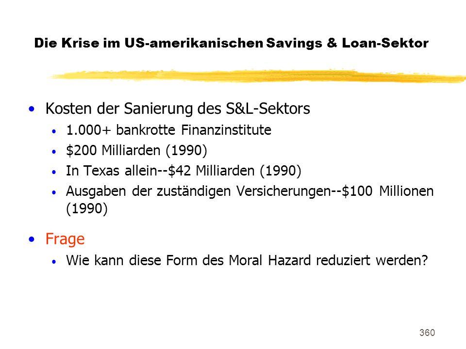 360 Kosten der Sanierung des S&L-Sektors 1.000+ bankrotte Finanzinstitute $200 Milliarden (1990) In Texas allein--$42 Milliarden (1990) Ausgaben der z