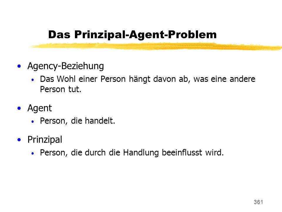361 Das Prinzipal-Agent-Problem Agency-Beziehung Das Wohl einer Person hängt davon ab, was eine andere Person tut. Agent Person, die handelt. Prinzipa