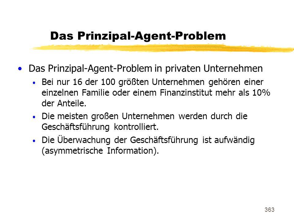 363 Das Prinzipal-Agent-Problem Das Prinzipal-Agent-Problem in privaten Unternehmen Bei nur 16 der 100 größten Unternehmen gehören einer einzelnen Fam