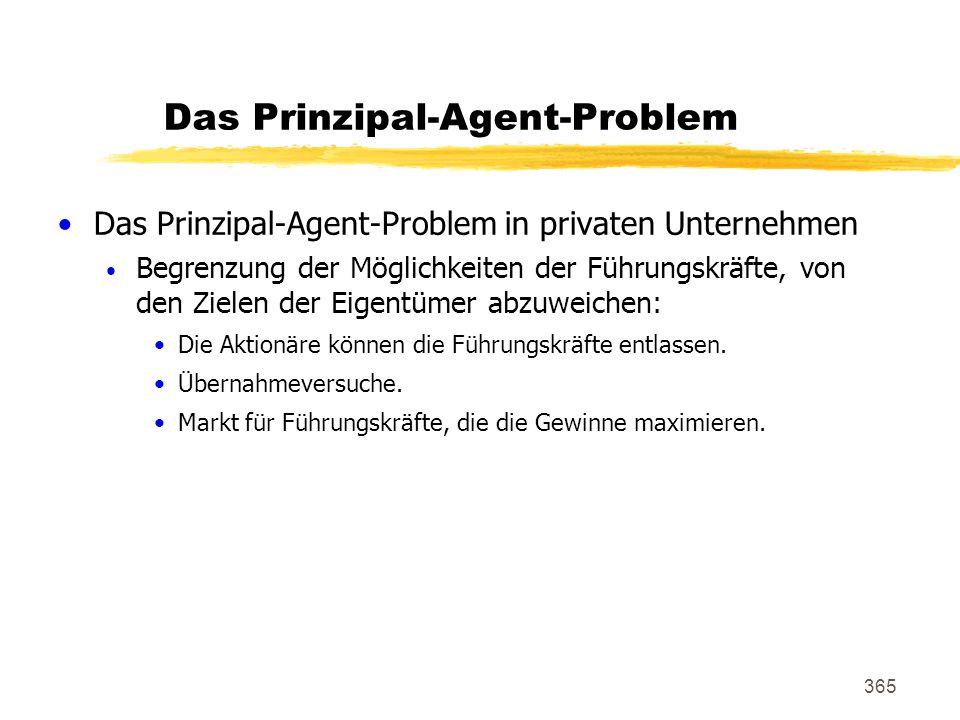 365 Das Prinzipal-Agent-Problem Das Prinzipal-Agent-Problem in privaten Unternehmen Begrenzung der Möglichkeiten der Führungskräfte, von den Zielen de
