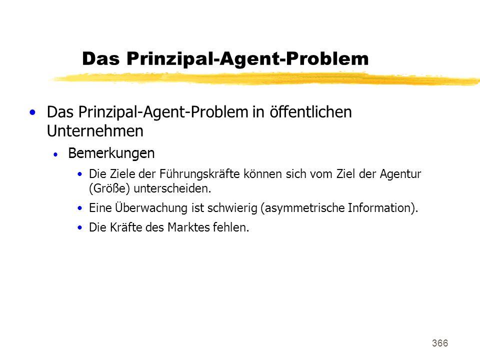 366 Das Prinzipal-Agent-Problem Das Prinzipal-Agent-Problem in öffentlichen Unternehmen Bemerkungen Die Ziele der Führungskräfte können sich vom Ziel
