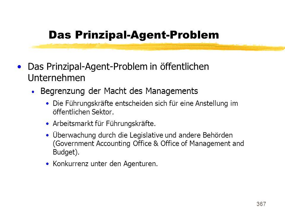 367 Das Prinzipal-Agent-Problem Das Prinzipal-Agent-Problem in öffentlichen Unternehmen Begrenzung der Macht des Managements Die Führungskräfte entsch