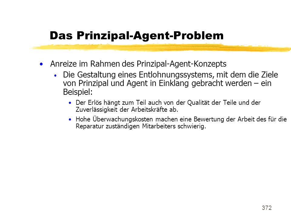 372 Das Prinzipal-Agent-Problem Anreize im Rahmen des Prinzipal-Agent-Konzepts Die Gestaltung eines Entlohnungssystems, mit dem die Ziele von Prinzipa