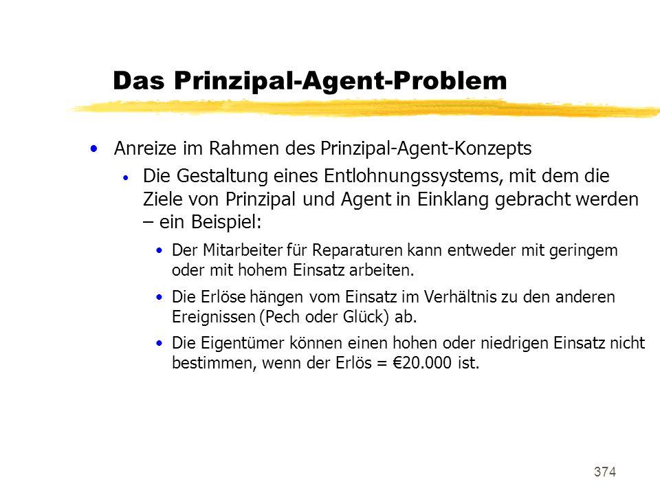 374 Das Prinzipal-Agent-Problem Anreize im Rahmen des Prinzipal-Agent-Konzepts Die Gestaltung eines Entlohnungssystems, mit dem die Ziele von Prinzipa