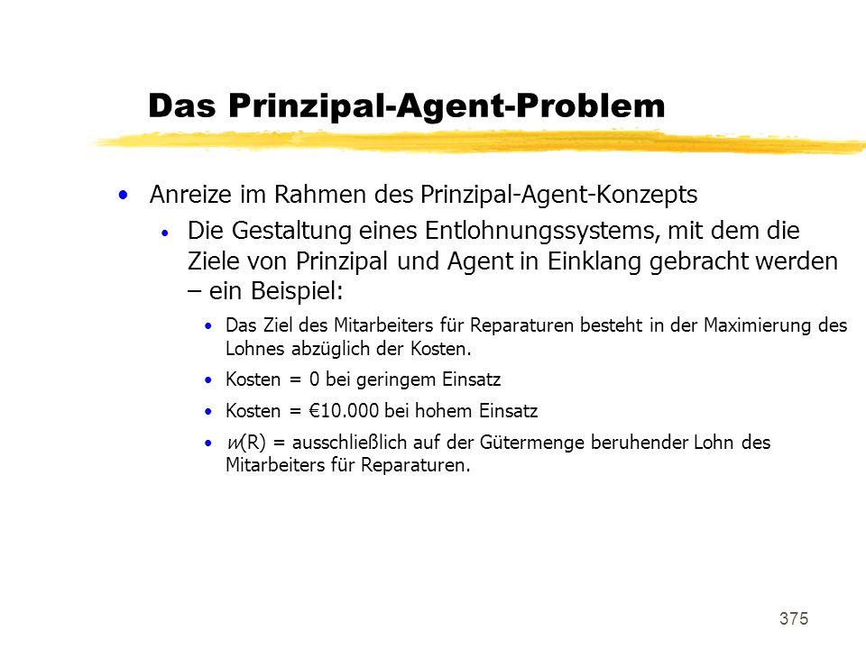 375 Das Prinzipal-Agent-Problem Anreize im Rahmen des Prinzipal-Agent-Konzepts Die Gestaltung eines Entlohnungssystems, mit dem die Ziele von Prinzipa