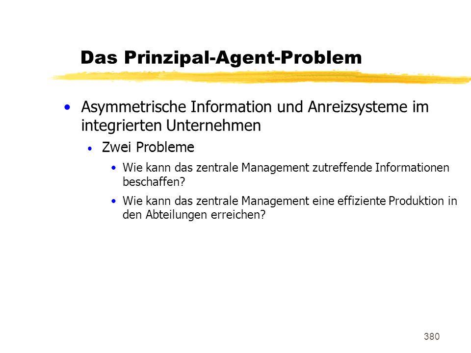 380 Das Prinzipal-Agent-Problem Asymmetrische Information und Anreizsysteme im integrierten Unternehmen Zwei Probleme Wie kann das zentrale Management