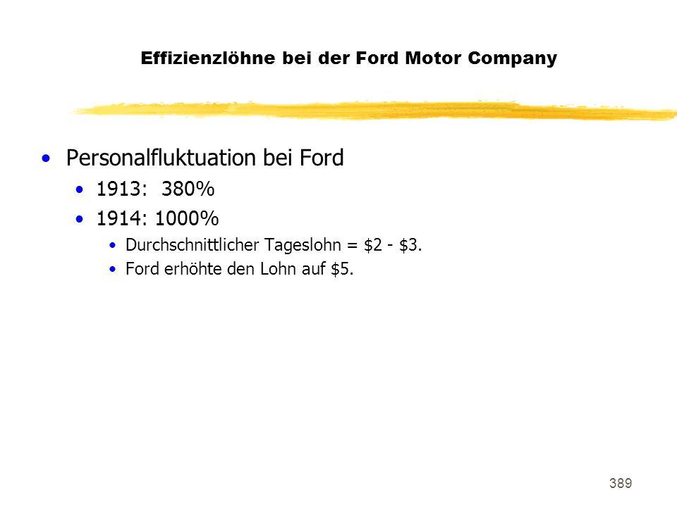389 Effizienzlöhne bei der Ford Motor Company Personalfluktuation bei Ford 1913: 380% 1914: 1000% Durchschnittlicher Tageslohn = $2 - $3. Ford erhöhte