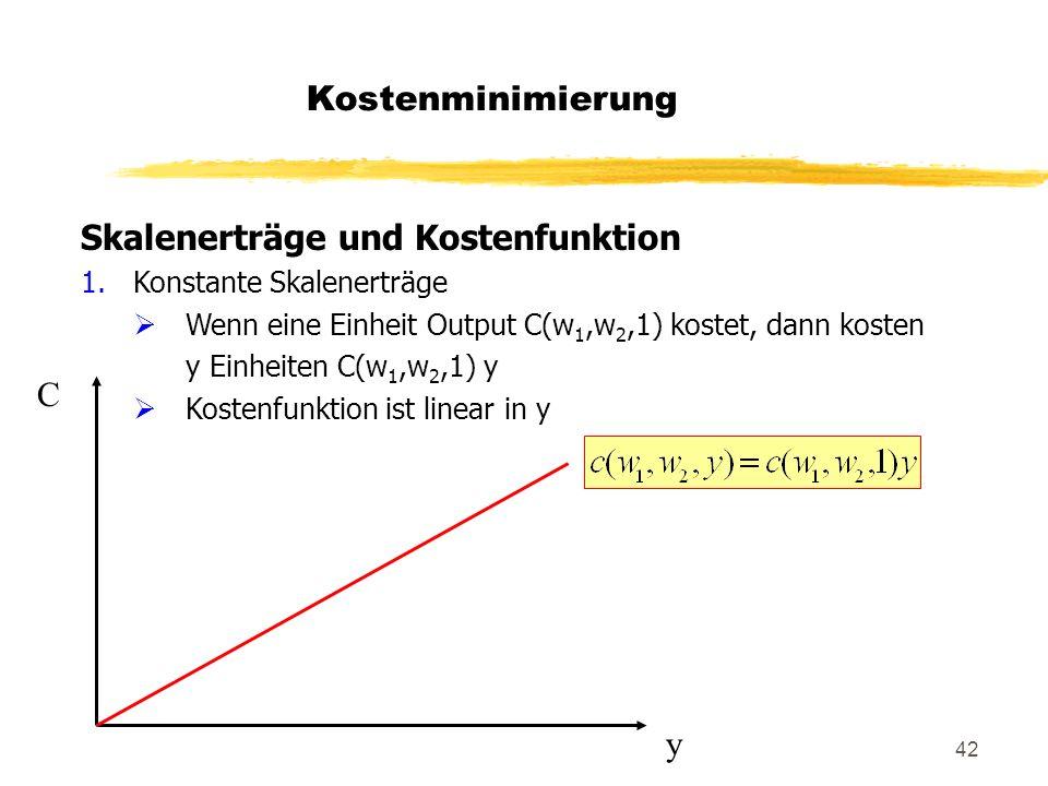 42 Skalenerträge und Kostenfunktion 1.Konstante Skalenerträge Wenn eine Einheit Output C(w 1,w 2,1) kostet, dann kosten y Einheiten C(w 1,w 2,1) y Kos