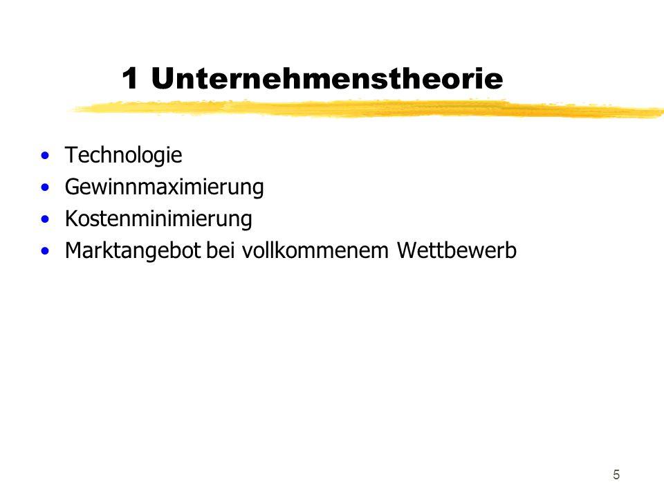 266 Oligopol Der Stackelbergführer Unternehmen 1 berücksichtigt bei der Gewinnmaximierung die BA-Funktion von Unternehmen 2