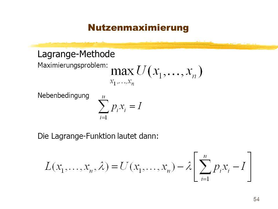 54 Lagrange-Methode Maximierungsproblem: Nebenbedingung Die Lagrange-Funktion lautet dann: Nutzenmaximierung