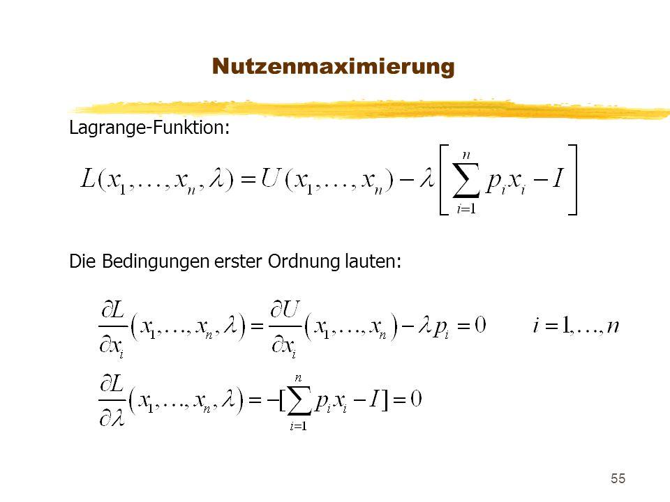 55 Lagrange-Funktion: Die Bedingungen erster Ordnung lauten: Nutzenmaximierung