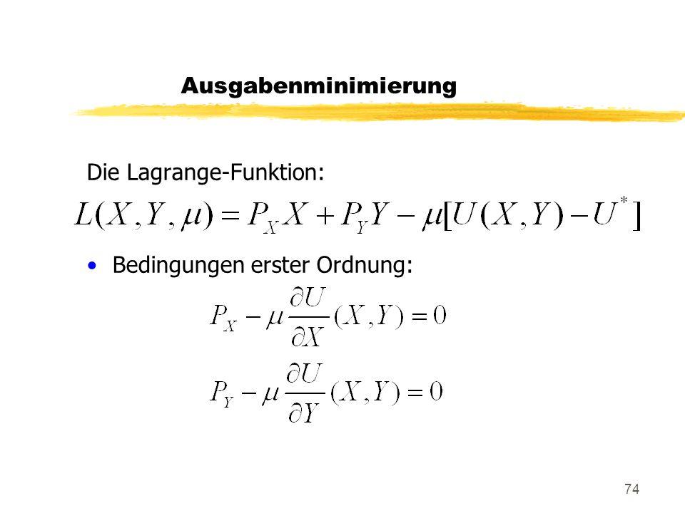 74 Die Lagrange-Funktion: Bedingungen erster Ordnung: Ausgabenminimierung
