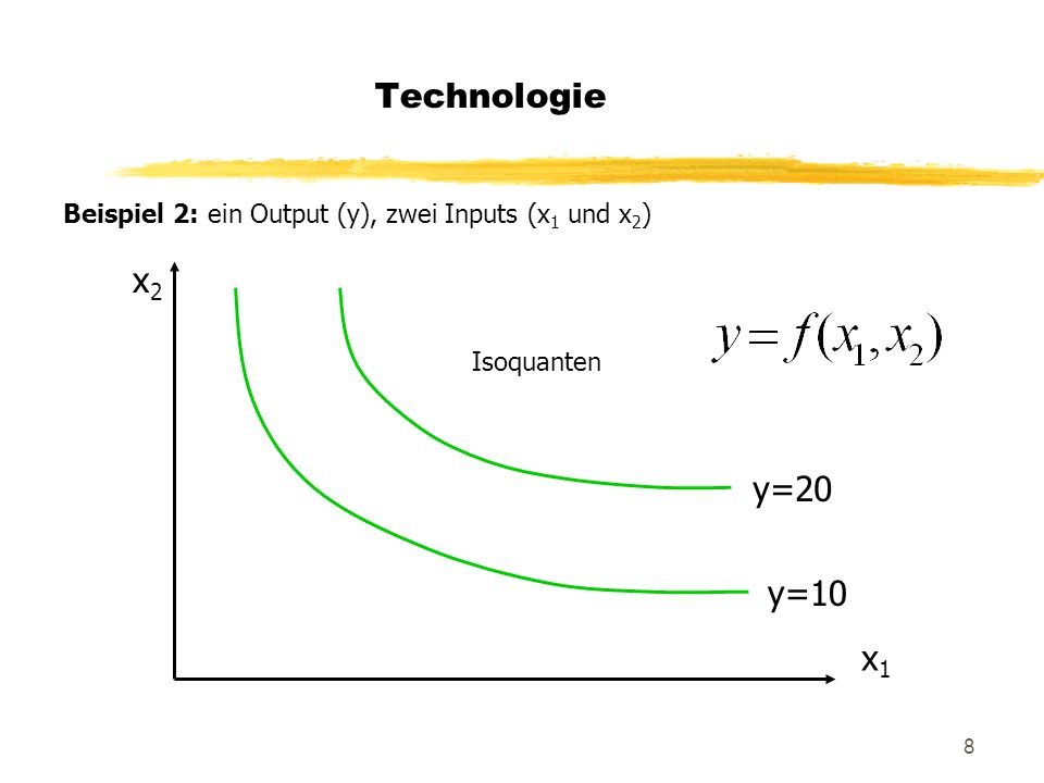 8 Technologie Beispiel 2: ein Output (y), zwei Inputs (x 1 und x 2 ) x2x2 x1x1 y=10 y=20 Isoquanten