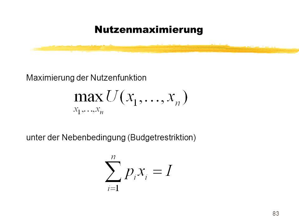 83 Nutzenmaximierung Maximierung der Nutzenfunktion unter der Nebenbedingung (Budgetrestriktion)
