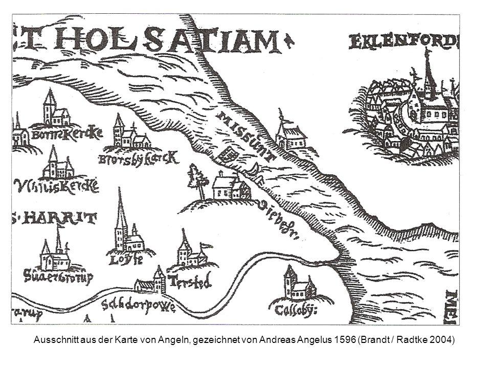 Ausschnitt aus der Karte von Angeln, gezeichnet von Andreas Angelus 1596 (Brandt / Radtke 2004)