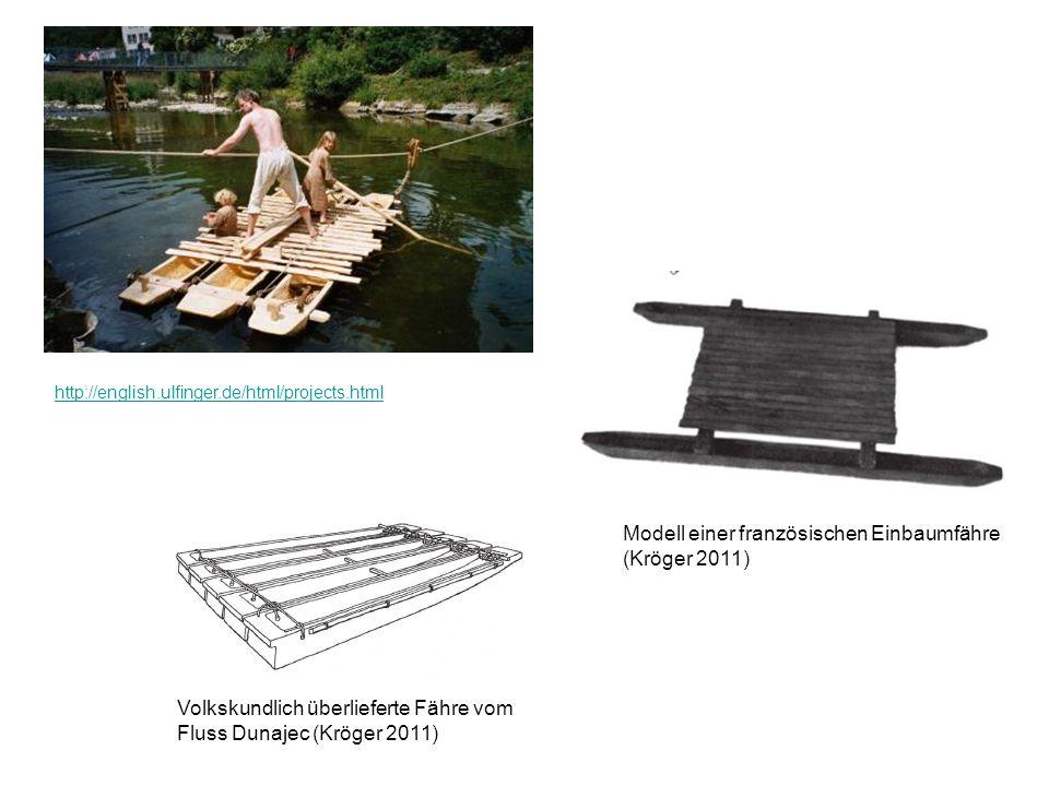 http://english.ulfinger.de/html/projects.html Volkskundlich überlieferte Fähre vom Fluss Dunajec (Kröger 2011) Modell einer französischen Einbaumfähre