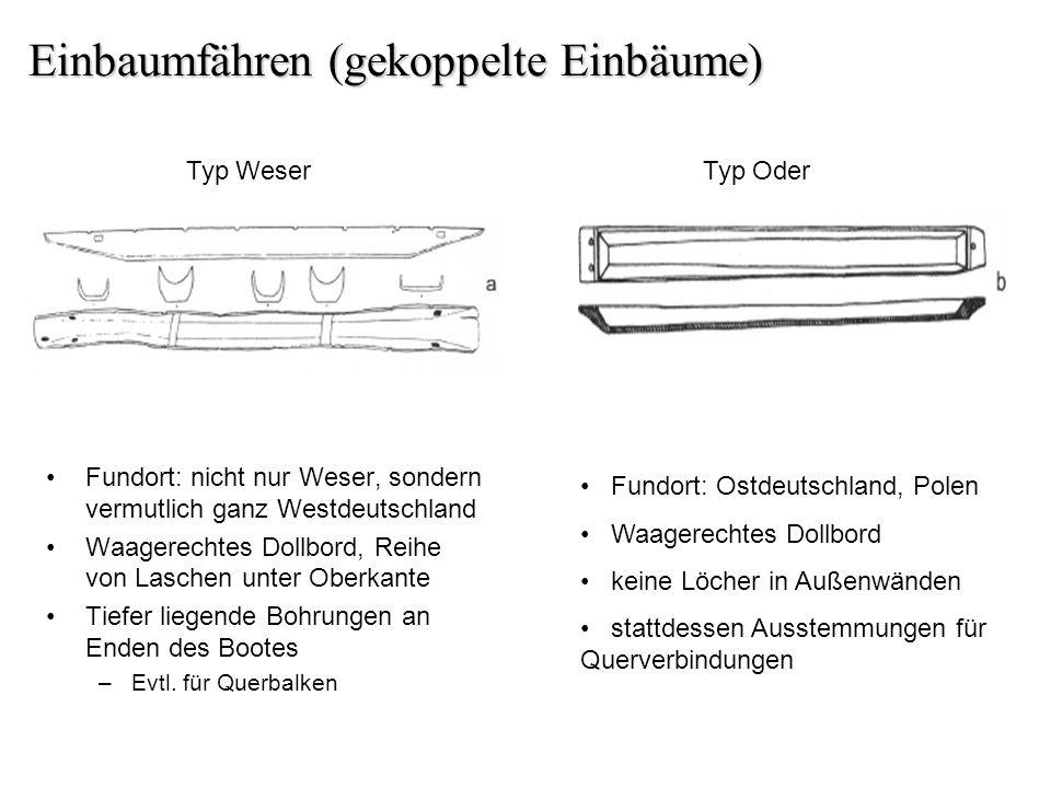 Einbaumfähren (gekoppelte Einbäume) Fundort: nicht nur Weser, sondern vermutlich ganz Westdeutschland Waagerechtes Dollbord, Reihe von Laschen unter O