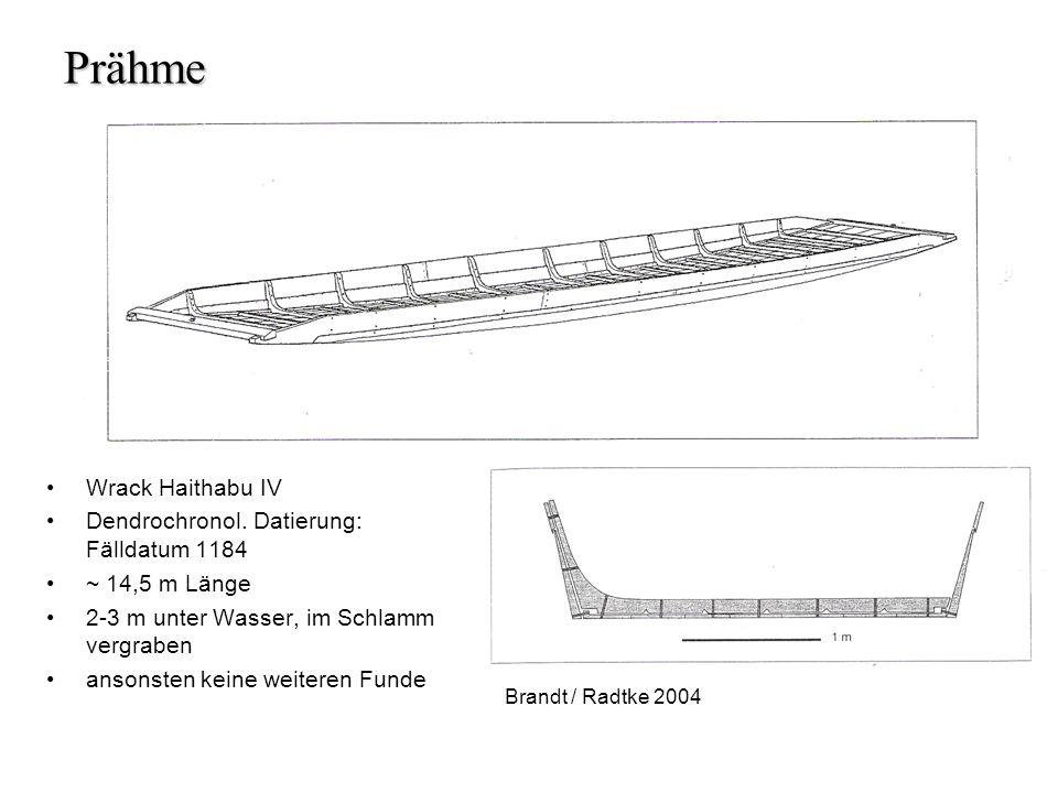 Prähme Wrack Haithabu IV Dendrochronol. Datierung: Fälldatum 1184 ~ 14,5 m Länge 2-3 m unter Wasser, im Schlamm vergraben ansonsten keine weiteren Fun