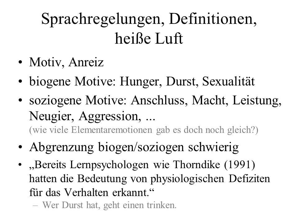 Sprachregelungen, Definitionen, heiße Luft Motiv, Anreiz biogene Motive: Hunger, Durst, Sexualität soziogene Motive: Anschluss, Macht, Leistung, Neugi