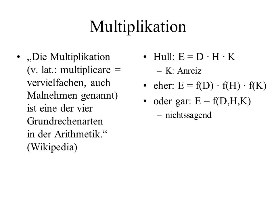 Multiplikation Die Multiplikation (v.