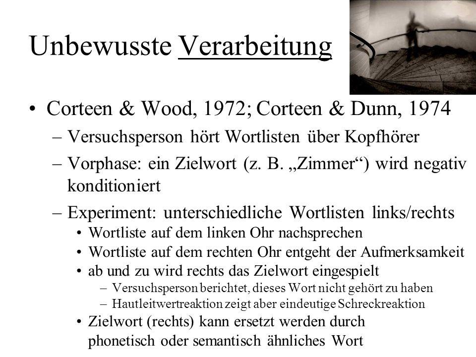 Unbewusste Verarbeitung Bornstein, 1992 –bloße Darbietung: bekannten Gesichtern wird mehr geglaubt wirkt besser, wenn Gesichtsdarbietung unbewusst ble
