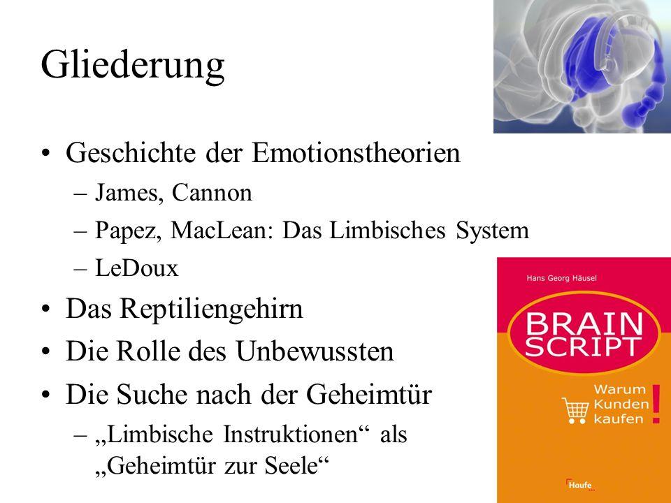 Limbisches System: Kritik Ein spekulatives System von 1952, basierend auf Lokalisationsdaten von 1929, das alle Emotionen gleichzeitig behandeln soll.