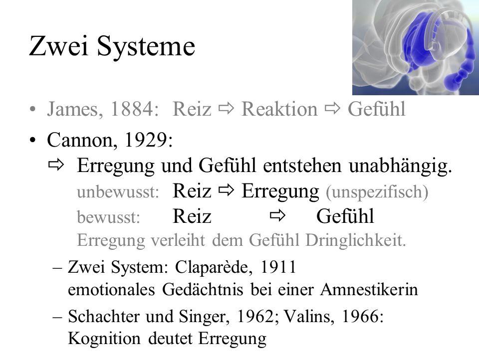Zwei Systeme James, 1884:Reiz Reaktion Gefühl Cannon, 1929: Erregung und Gefühl entstehen unabhängig.