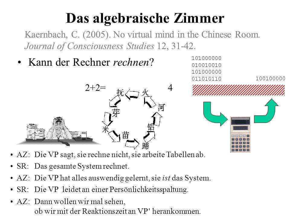 Prinzipieller Einwand gegen starke KI: Das chinesische Zimmer Searle: Ich verstehe kein Chinesisch. SR: Das gesamte System versteht Chinesisch. Searle