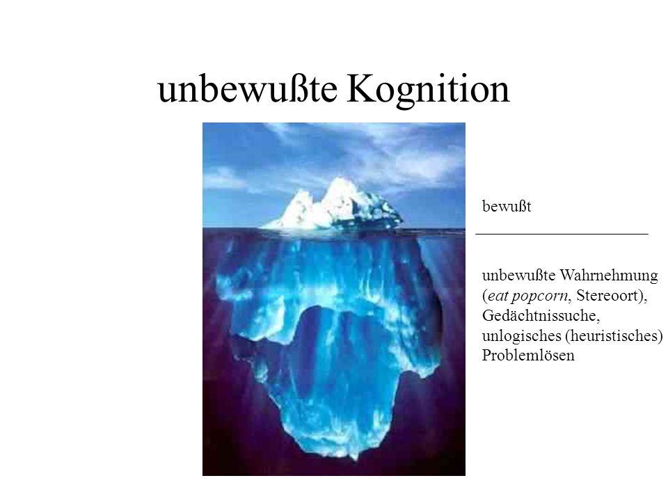 unbewußte Kognition unbewußte Wahrnehmung (eat popcorn, Stereoort), Gedächtnissuche, unlogisches (heuristisches) Problemlösen bewußt