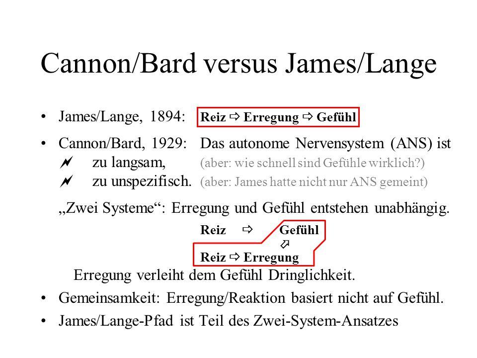 Cannon/Bard versus James/Lange James/Lange, 1894: Reiz Erregung Gefühl Cannon/Bard, 1929:Das autonome Nervensystem (ANS) ist zu langsam, (aber: wie schnell sind Gefühle wirklich?) zu unspezifisch.