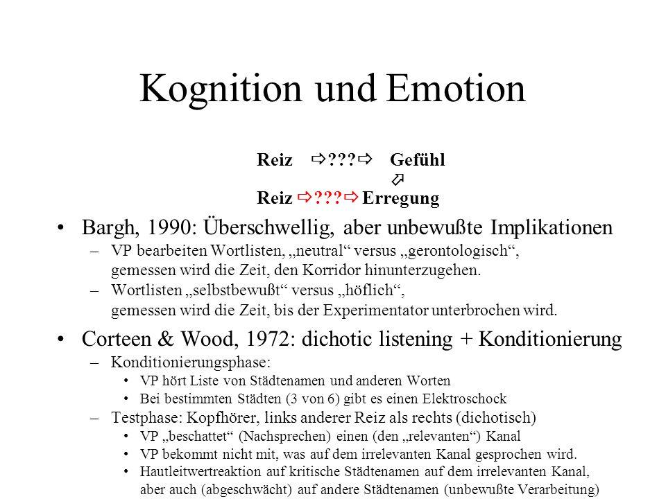 Dimensionszahl bei MDS MDS von Klangfarben (timbre) von Musikinstrumenten (Lakatos, 2000) –perkussive Klänge:dreidimensional –harmonische Klänge:dreidimensional –beide Arten von Klängen:dreidimensional Die Dimensionszahl einer MDS-Konfiguration spiegelt nicht notwendig eine Begrenzung des in Frage stehenden (perzeptiven/emotionalen/...) Raumes, sondern eher eine Begrenzung der kognitiven Repräsentation dieses Raumes wider.